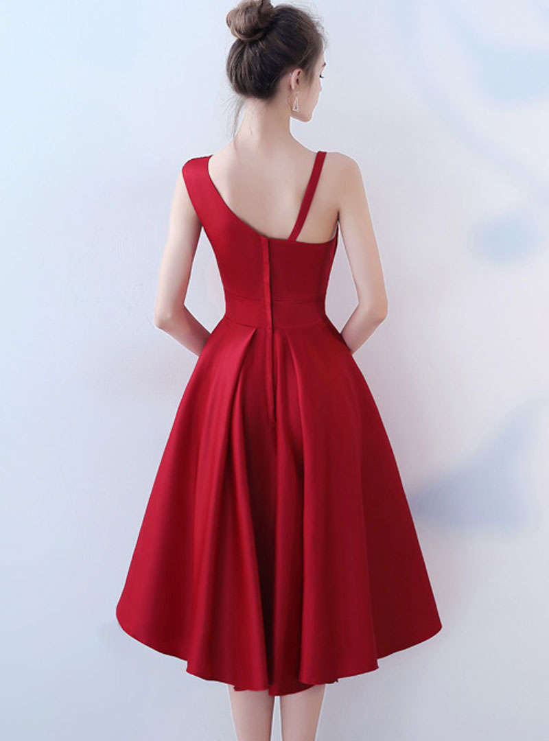 Wine Red One Shoulder Asymmetric Formal Dress
