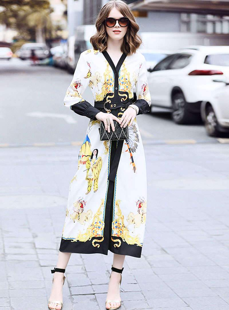 Floral Printed V-Neck Tie Waist Maxi Dress
