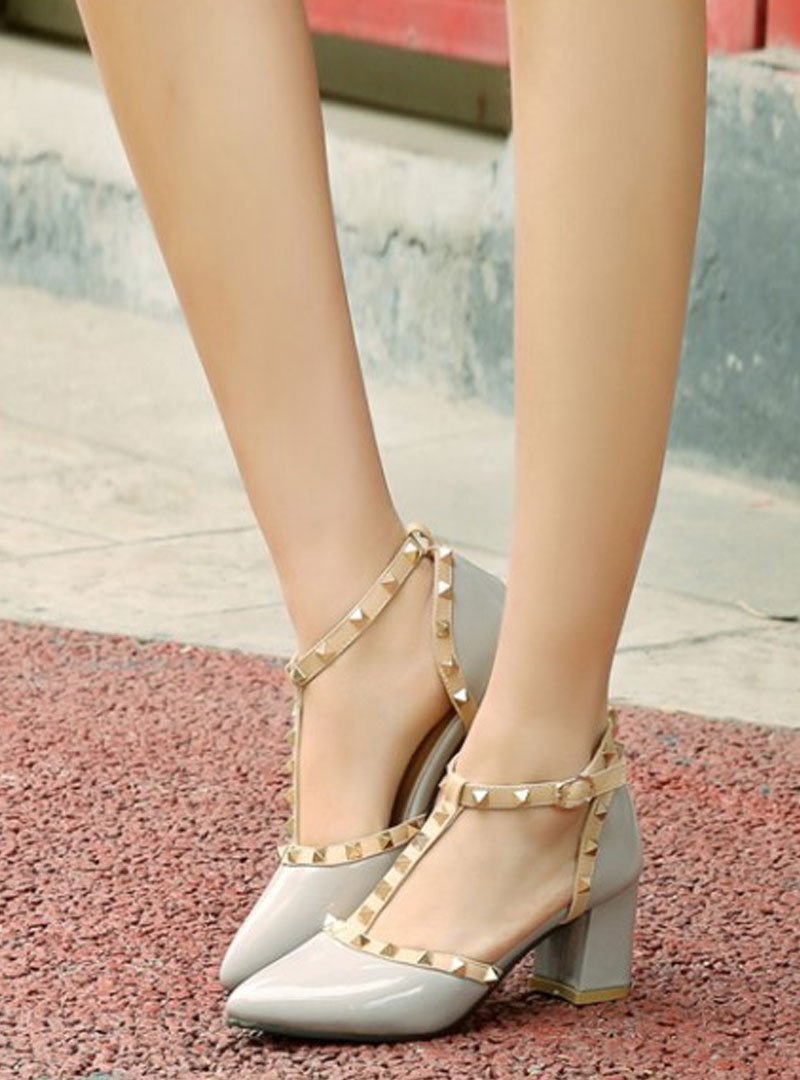 Rivet Ankle Strap Hollow Out Sandals