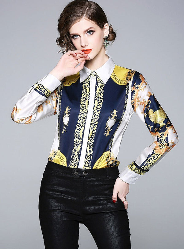 Multi Color Retro Floral Printed Satin Blouse