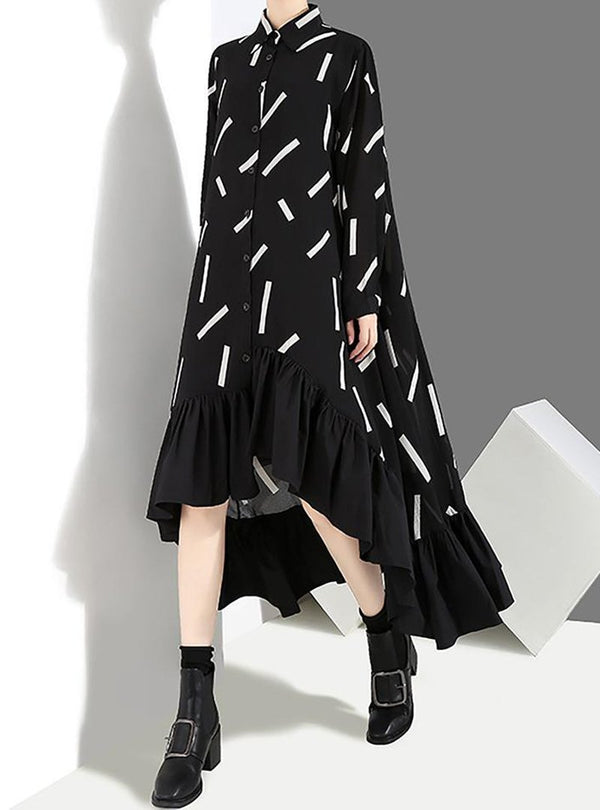 Black Paneled Casual Geometric Shirt Collar Dress