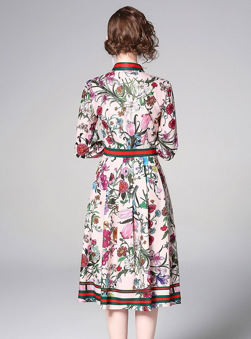 Shirt Collar A-Line Pleated Floral-Print Midi Dress
