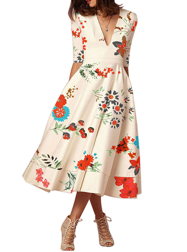 Elegant V-Neck Floral Printed Midi Dress