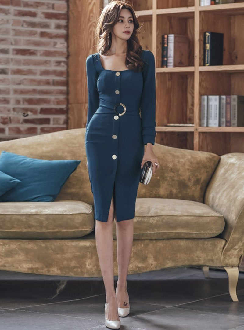 Fall Square Neck Deep Blue Sexy Sheath Slit Buttoned Midi Dress