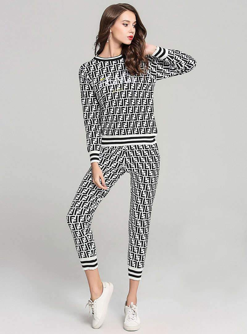 Letter Printed Casual Printed Two-Piece Outfit