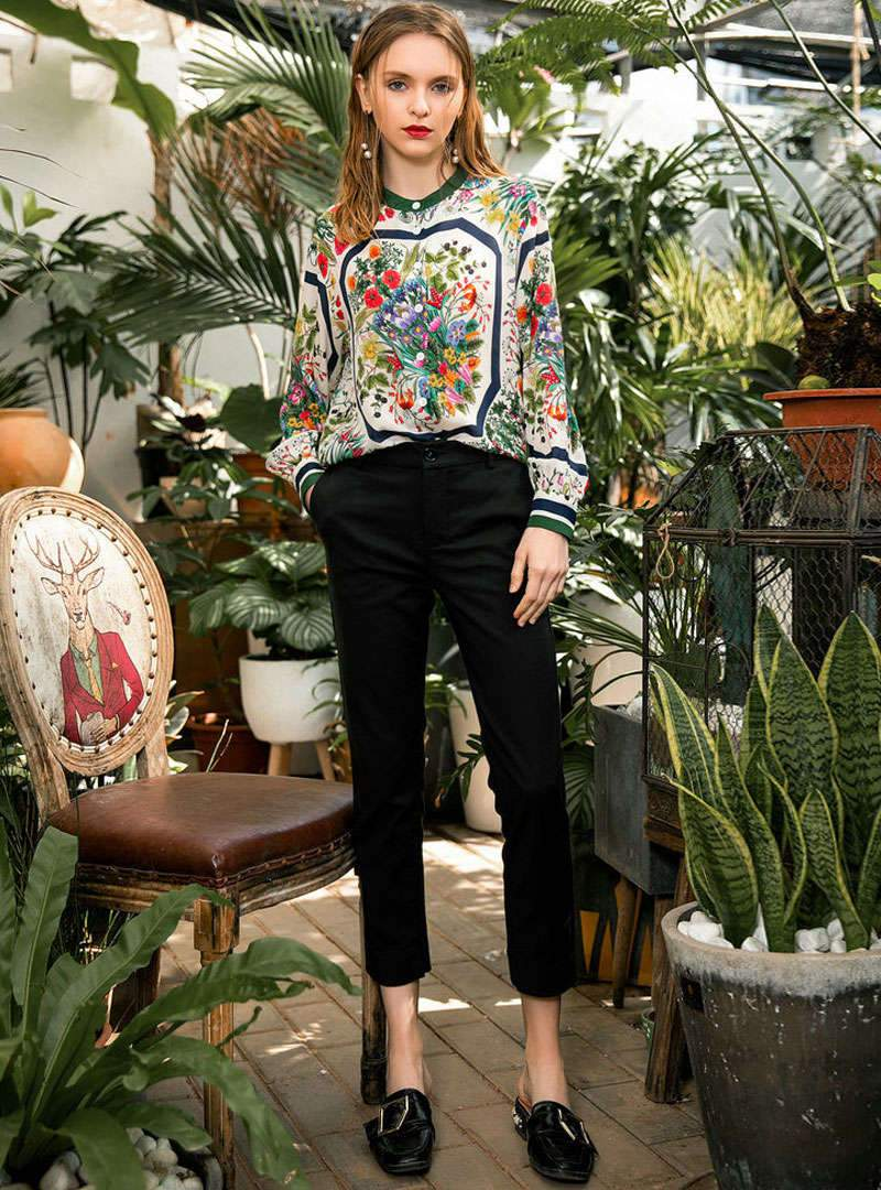 Multi Floral Printed Loose Long Sleeves Blouse