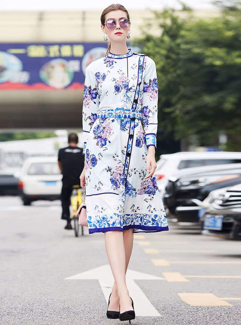 Stylish Floral Printed Belted Midi Dress