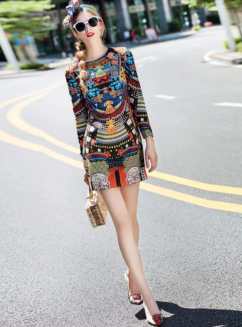 Retro Floral Printed Mini Dress