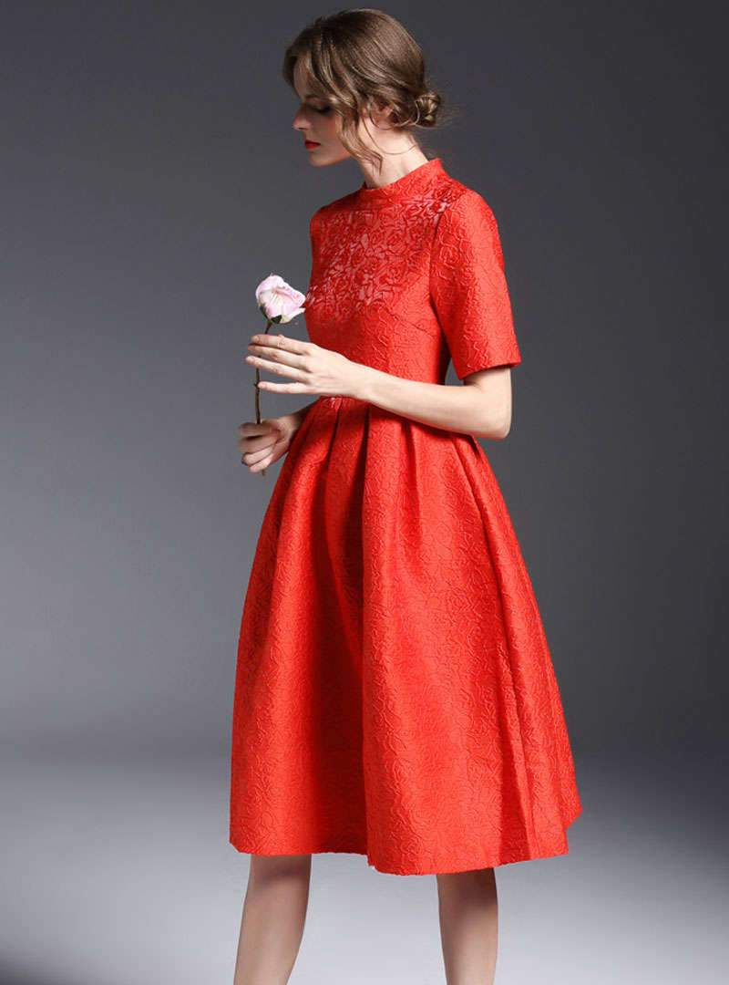 Red Floral Embroidered A-Line Midi Dress