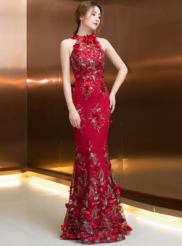 Red Embroidery Sheath Sleeveless Mermaid Maxi Dress