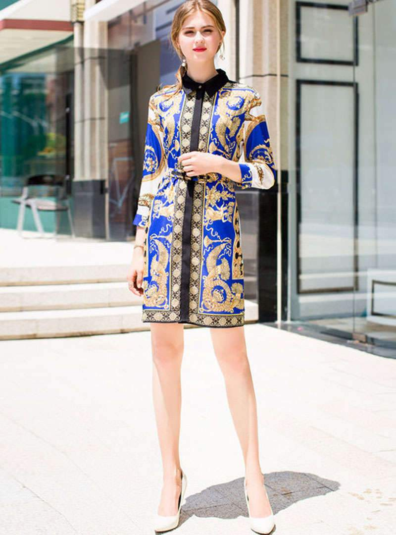 Retro Floral Printed Mini Shirt Dress