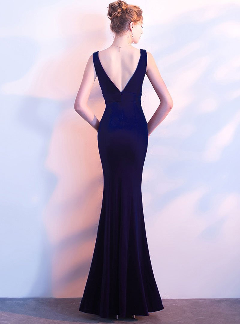 Deep V-Neck Fish Tail Evening Dress
