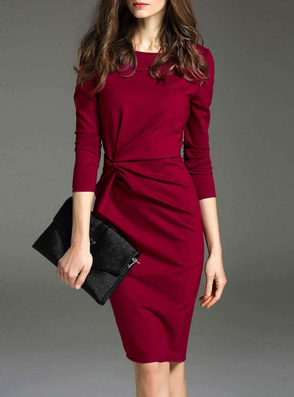 Pure Color Cinched Waist Sheath Midi Dress