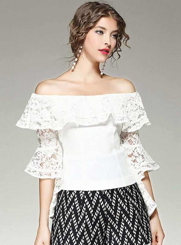Solid Color Flare Layered Sleeve Off-shoulder Blouse