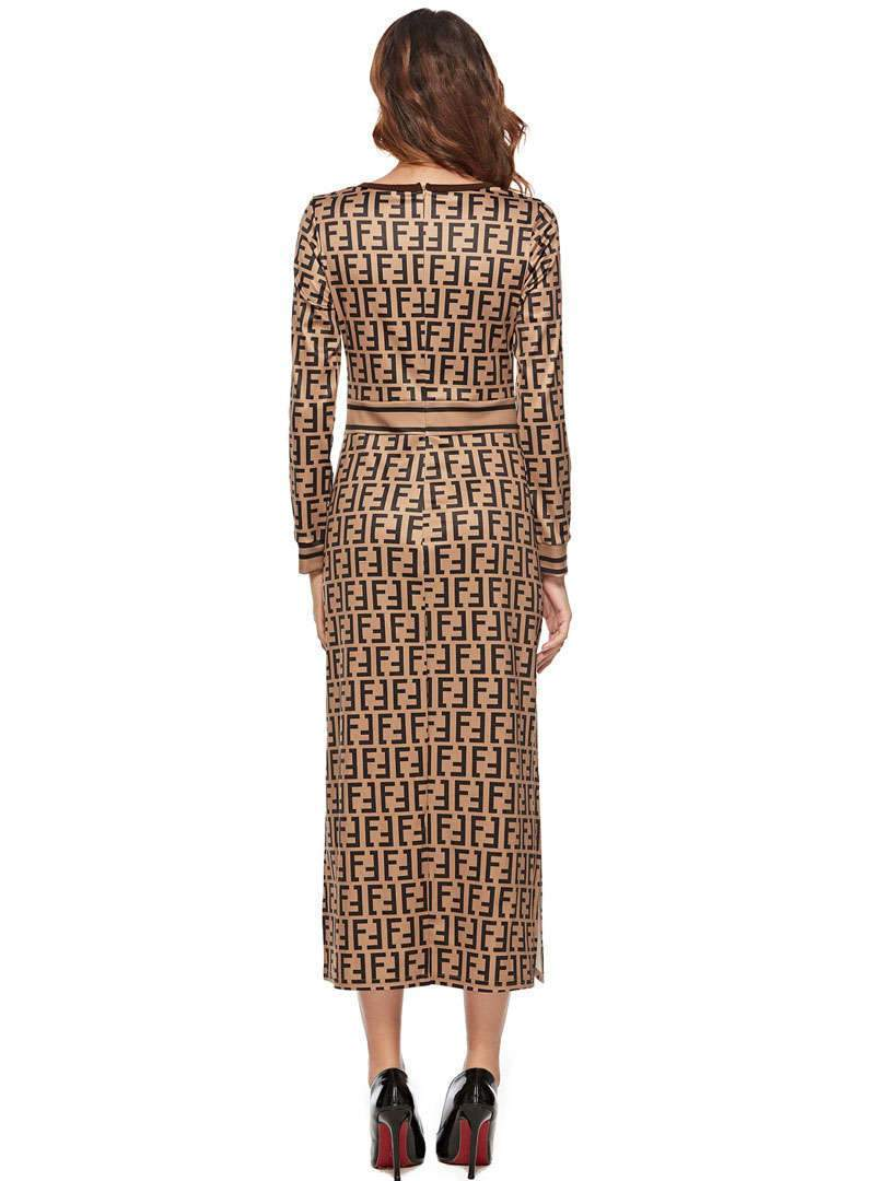 Brown Printed Long Sleeves Slit Maxi Dress