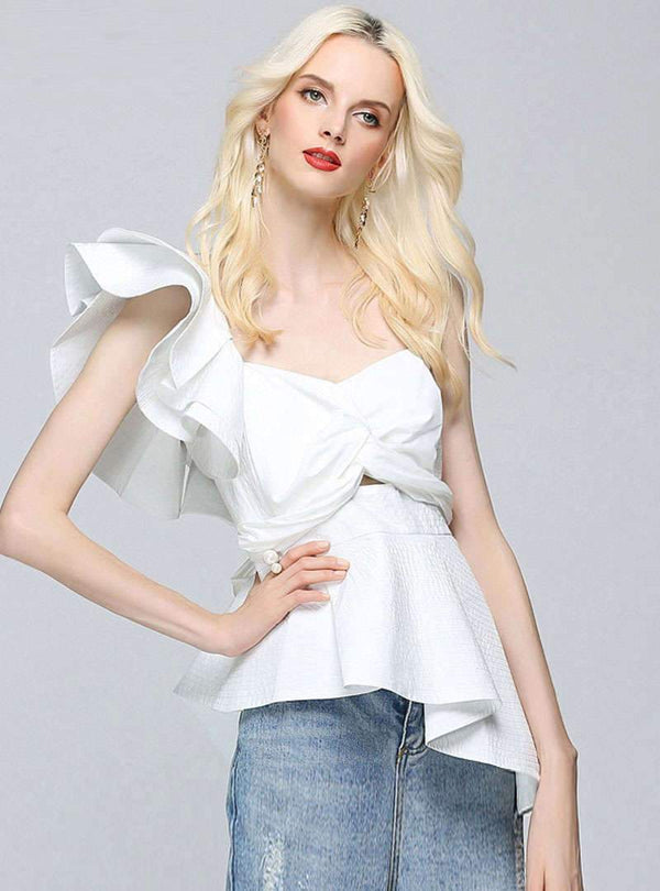 Pure Color Tube top One Shoulder Asymmetric Blouse