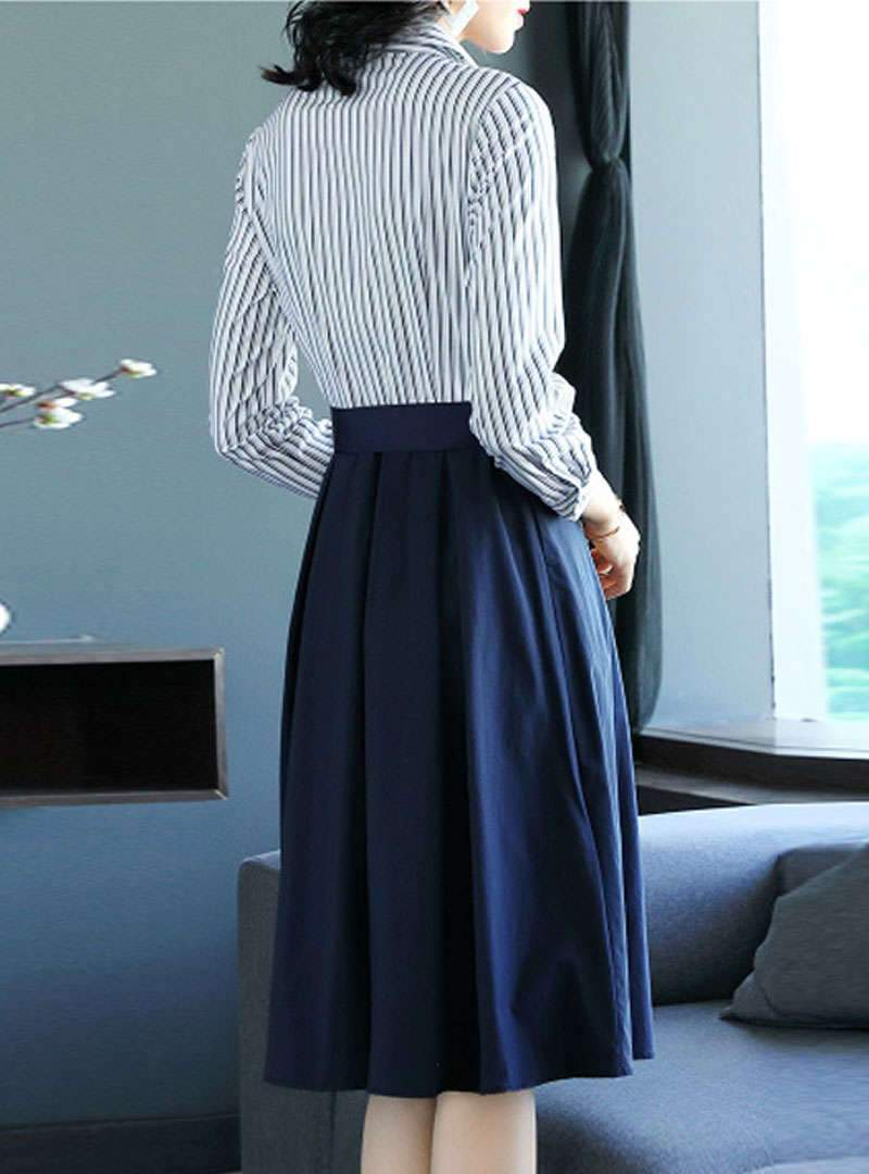 Elegant Striped A-Line Together Waist Midi Dress