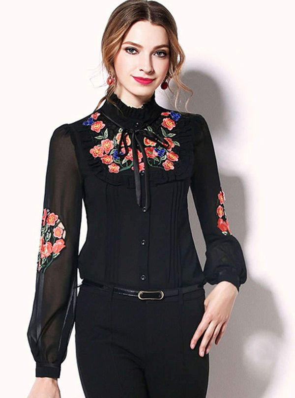 Embroidered Cinched Waist Chiffon Blouse