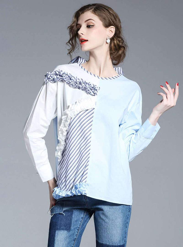 Match Color Ruffled Striped Back Buttoned Blouse