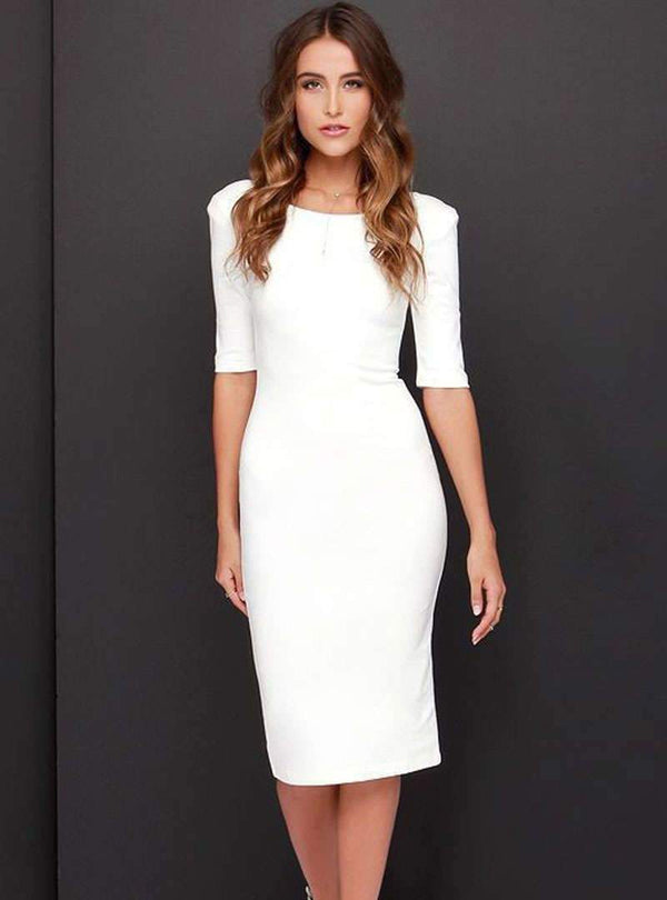 Pure Color Backless Bodycon Midi Dress