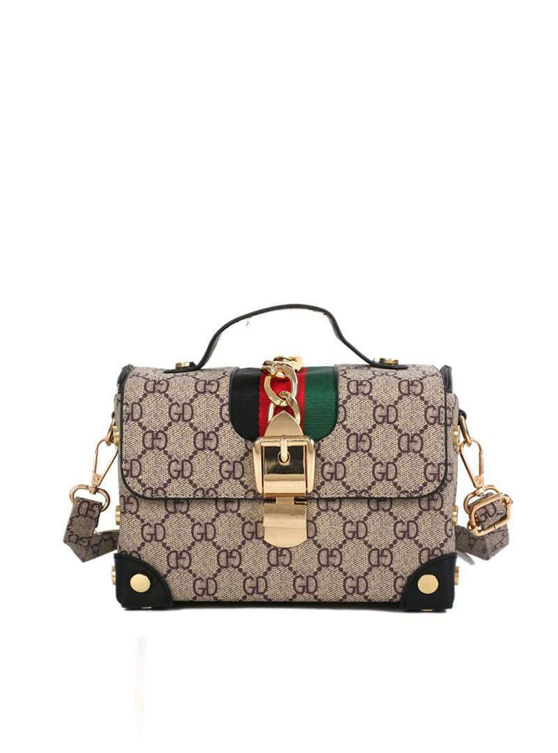 Stylish Printed Chain Embellished Totes & Crossbody Bag