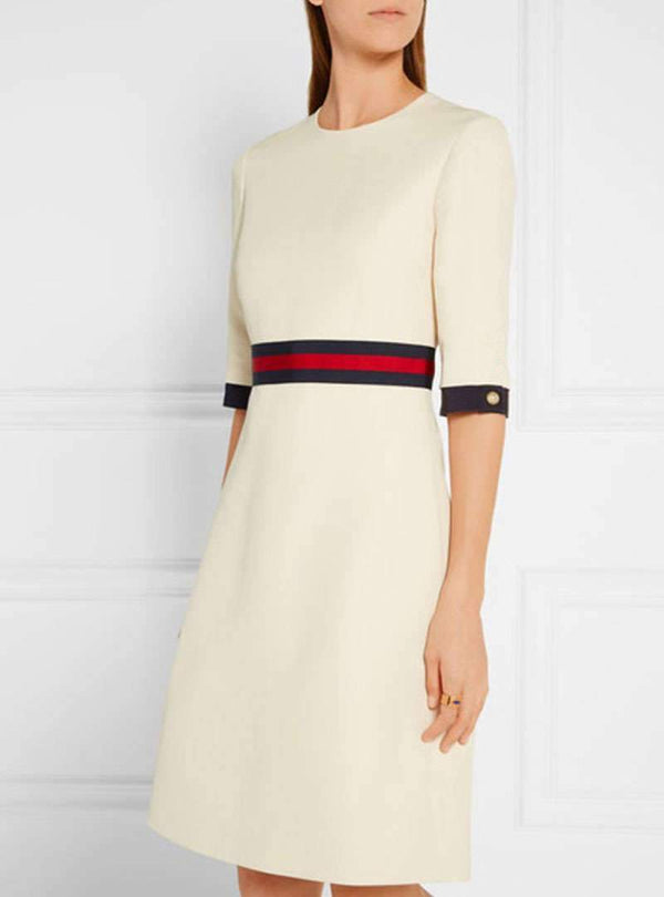 A-Line Daytime Vintage Paneled Midi Dress