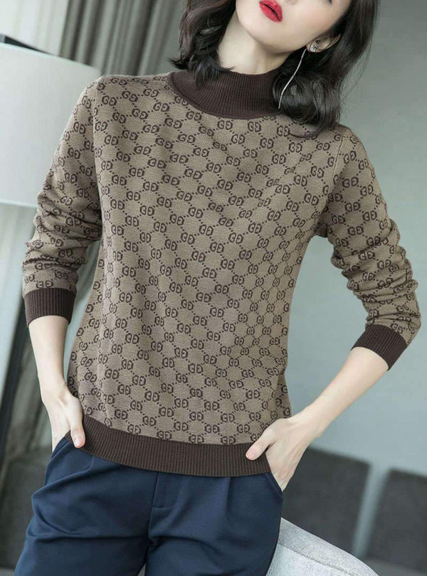 Casual Printed Long Sleeves Slim Knitted Sweater