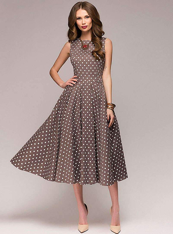 Retro Brown Sleeveless Polka Dot Swing Maxi Dress