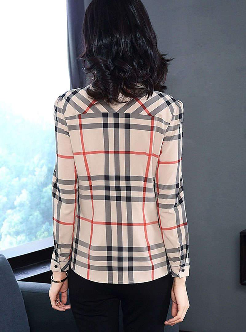 Khaki Plaid Bowtie Slim Blouse