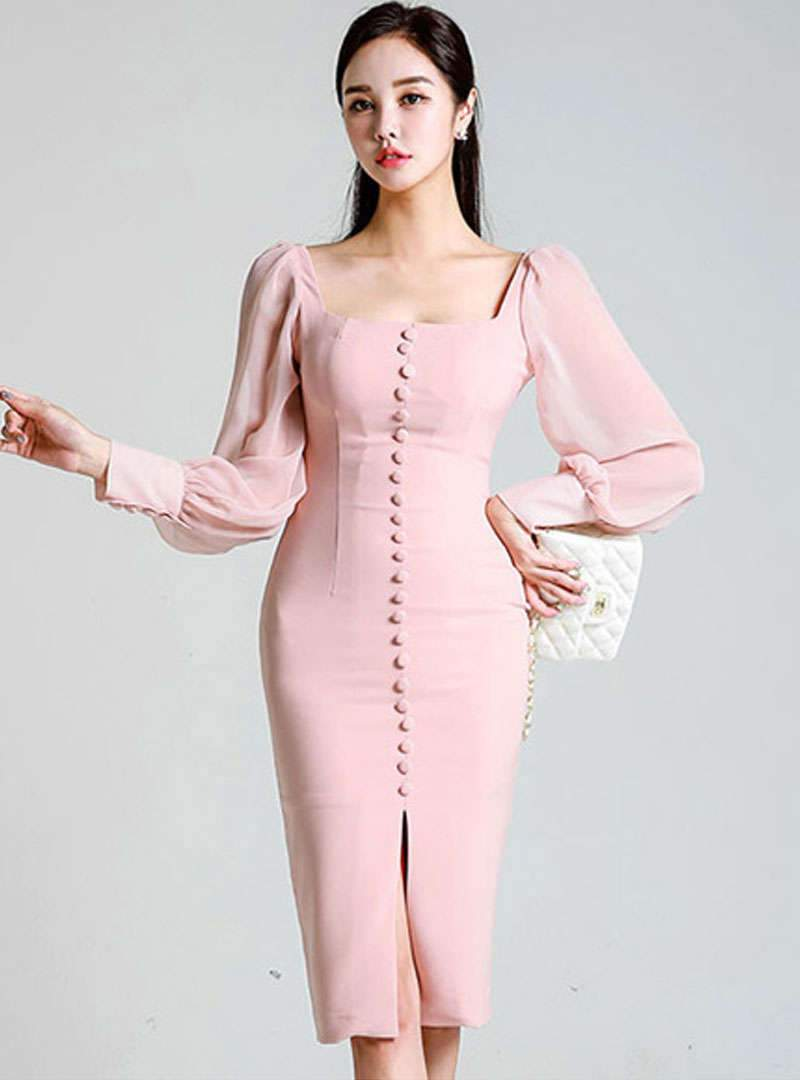 Square Neck Pink Bodycon Cocktail Midi Dress