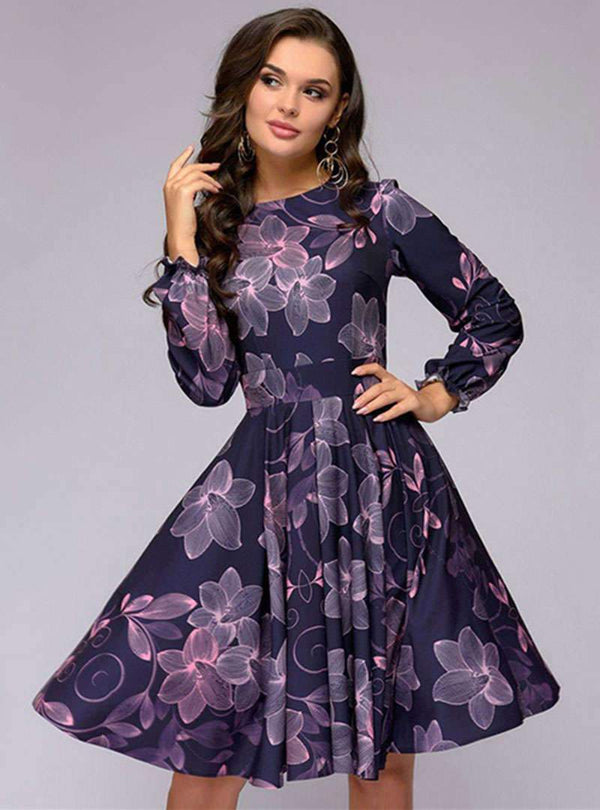 Retro Purple Floral Printed Falbala Pleated Midi Dress