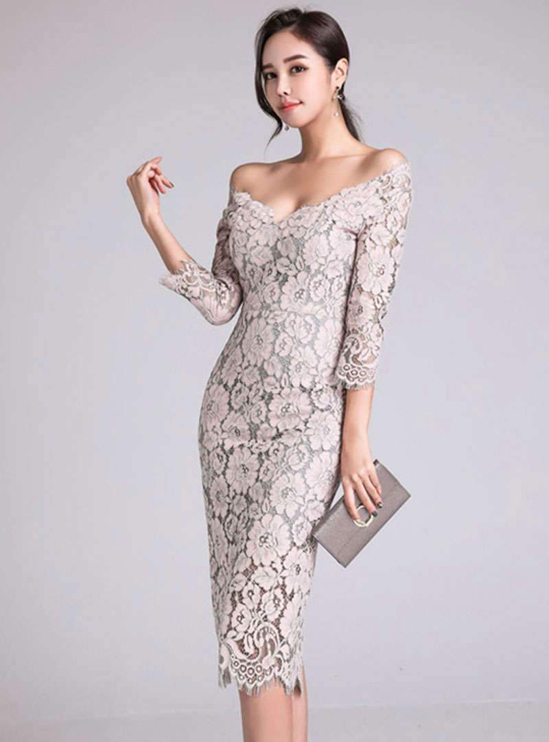 Slash Neck Off Shoulder Lace Sheath Midi Dress