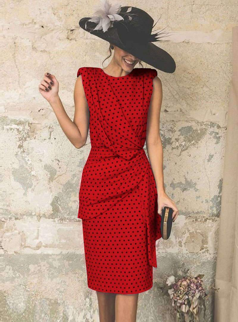Retro Polka Dots Cinched Waist Sheath Mini Dress