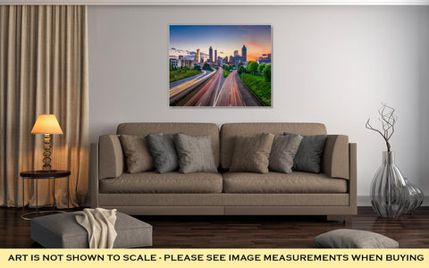 Image of Gallery Wrapped Canvas, Atlantgeorgiusdowntown City Skyline Over Freedom Parkway