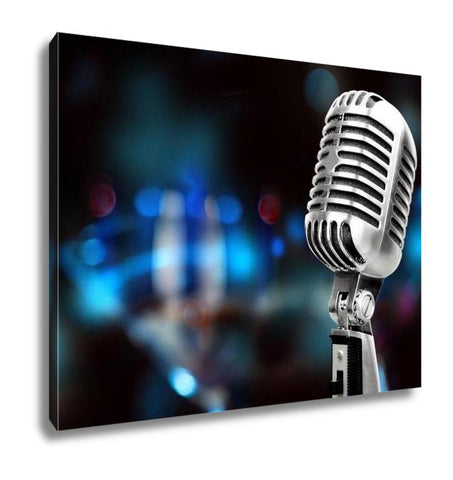 Image of Gallery Wrapped Canvas, Silver Microphone