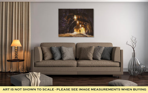 Image of Gallery Wrapped Canvas, Inside Of The Mine Shaft With Fog Illustration Digital Painting