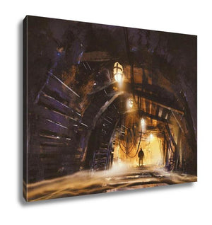 Gallery Wrapped Canvas, Inside Of The Mine Shaft With Fog Illustration Digital Painting