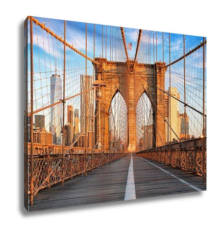 Image of Gallery Wrapped Canvas, Brooklyn Bridge New York City Nobody At Sunrise