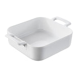 White Porcelain Deep Square Baking Dish Belle Cuisine 7.75 x 7.75 x 2.5