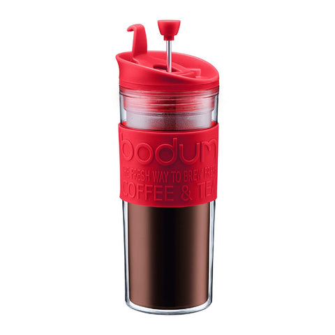 Insulated Plastic Travel French Press Coffee and Tea Mug, 15oz, Red