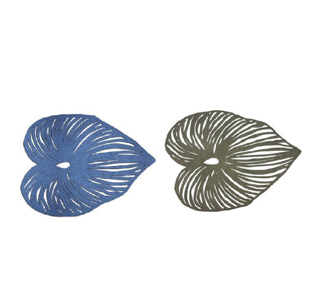 Blue Leaf Double-Sided Placemat, Metallic Dove Gray & Blue