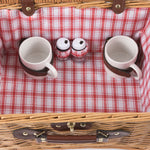 Catalina English Style Picnic Basket with Service for Two, Red and White Plaid