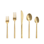 Arezzo Brushed Gold 18/10 Stainless Steel Flatware, 20 Piece, Service for 4
