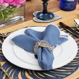 Blue Leaf Double-Sided Napkin Ring Set of 4