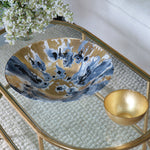 New Orleans Glass Blue and Gold Marble Extra-Large Centerpiece
