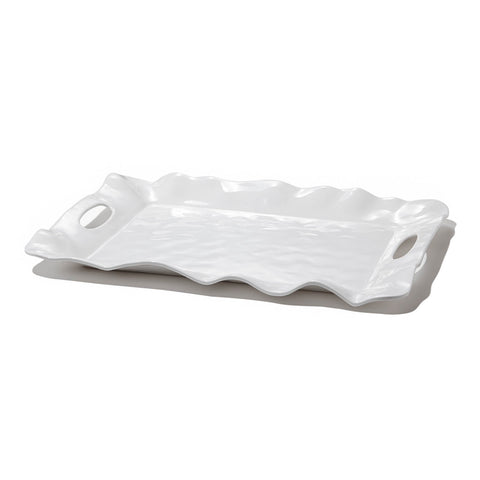 Vida Havana Rectangular Tray with Handles White