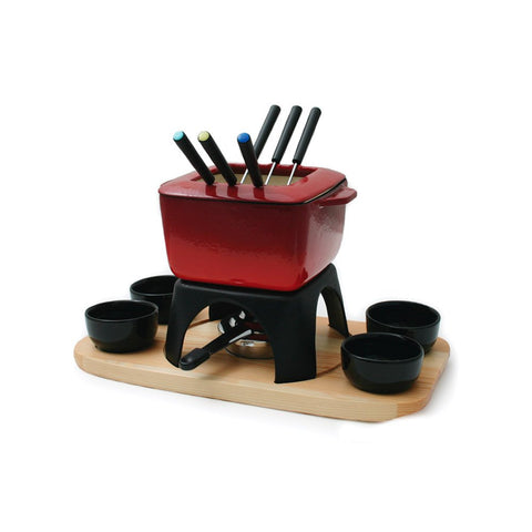 Mont Blanc 15 Piece Meat Fondue Set, Red
