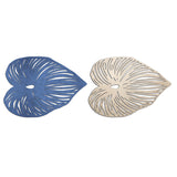 Blue Leaf Double-Sided Placemats, Set of 4
