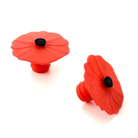 Silicone Poppy Bottle Stoppers Set of 2