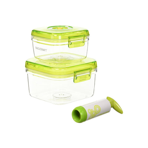 3-Piece Square Vacuum Food Container Set
